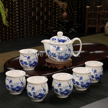 Kung Fu Tea Yixing purple sand tea set Ceramic set group Double layer heat insulation tray