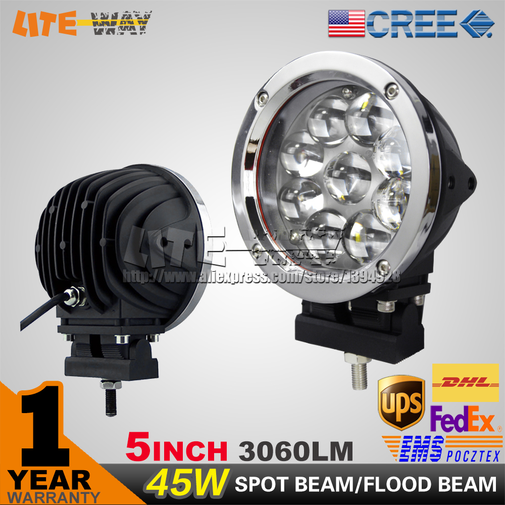 PAIR 5 INCH 45W CREE LED WORK LIGHT , SILVER COLOR FOG LIGHT, FOR OFF ROAD 4WD ATV SUV USE, LED DRIVING LIGHT(China (Mainland))