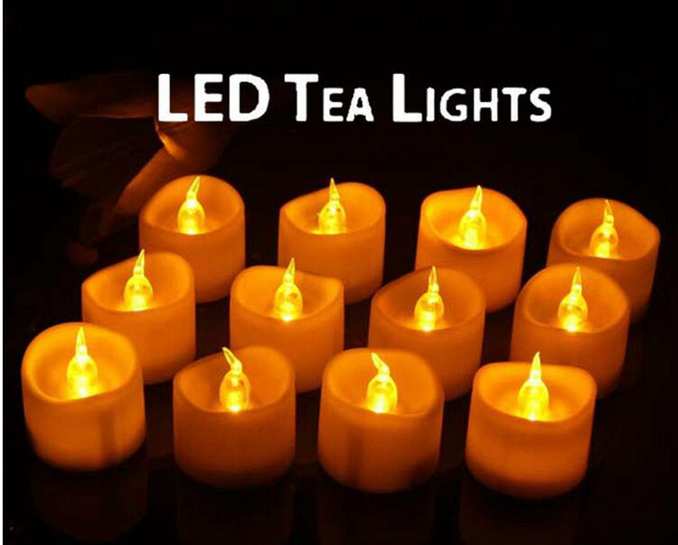 New Flickering 12pcs/set Flicker Light Flameless LED Tealight Tea Candles Wedding Light led candles with timer for home bar Dec(China (Mainland))