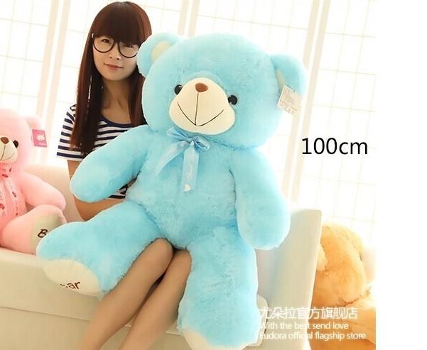 100cm sky blue bear plush toy bowtie bear toy throw pillow birthday gift b7789(China (Mainland))