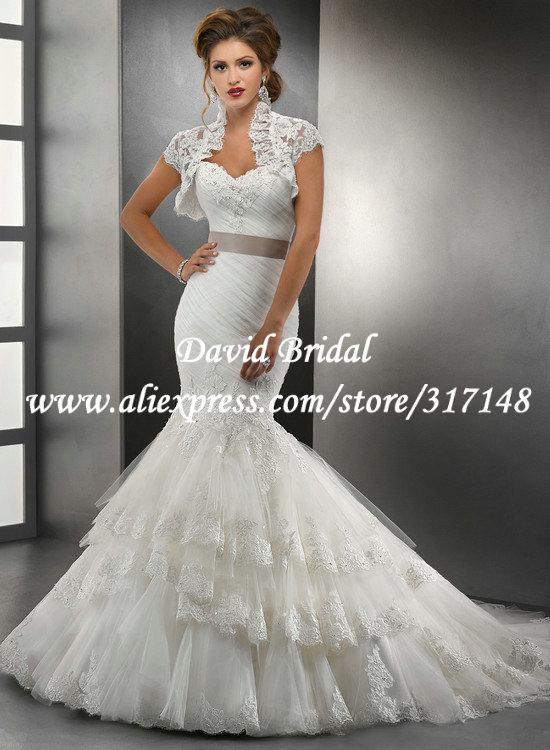 Gorgeous Corset Back Tulle Lace Mermaid Wedding Dresses ... Lace Mermaid Wedding Dress 2013