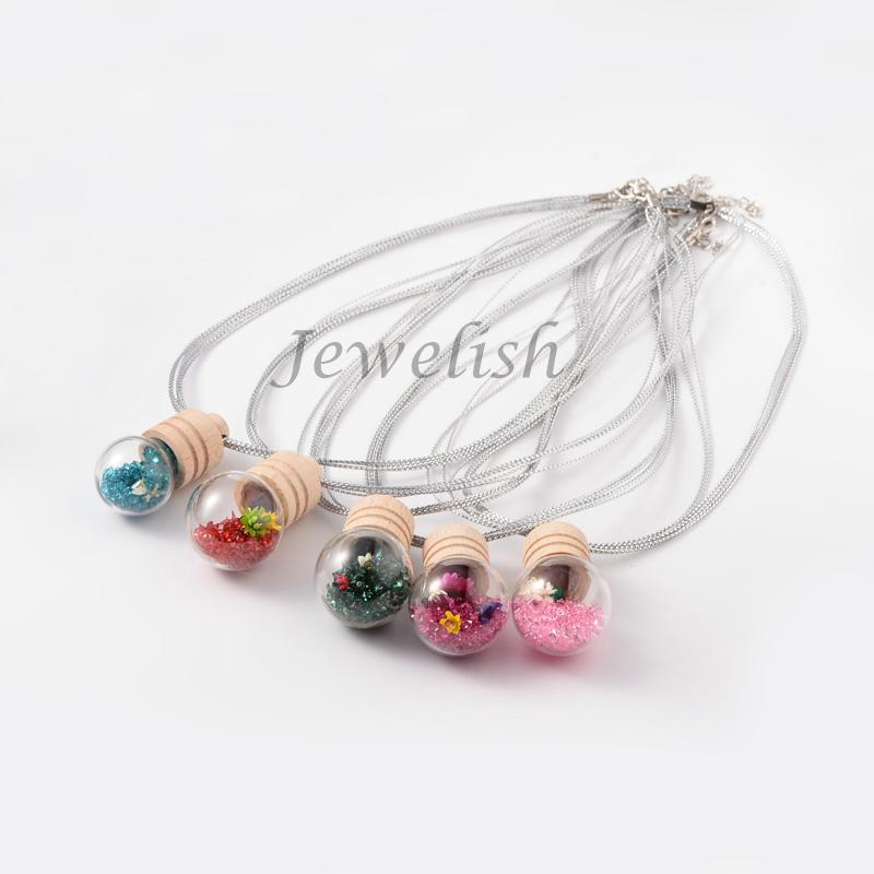 """Cute Design Wishing Bottle Glass Big Pendant Iron Necklaces, with Resin Rhinestone Beads and Wooden Stoppers, Mixed Color, 18.5""""(China (Mainland))"""