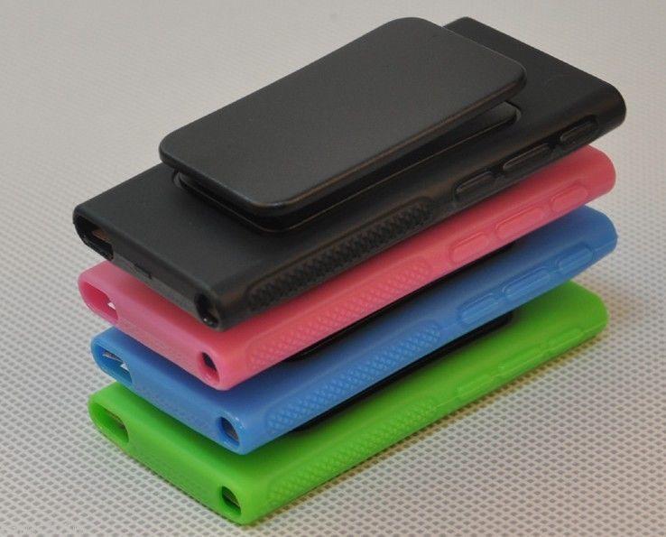 produto TPU Rubber Gel Soft Skin Case Cover W/ Belt Clip For iPod Nano 7 7G 7th Free Shipping