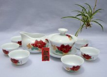 10pcs smart China Tea Set, Pottery Teaset,Red Peony,A3TM24, Free Shipping