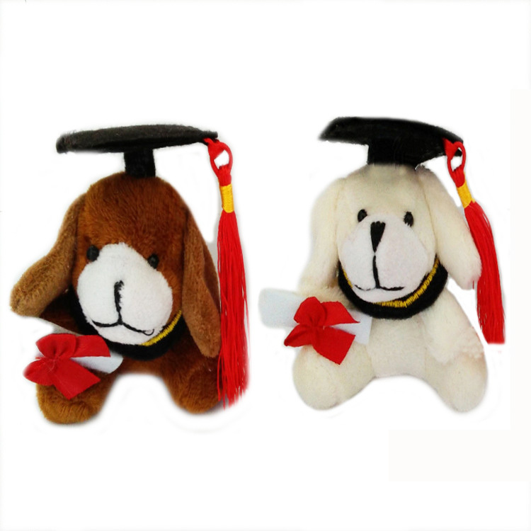 Plush Sweet Little Graduation Dog Toy With Hat and Book 7Cm Formatura dog(China (Mainland))