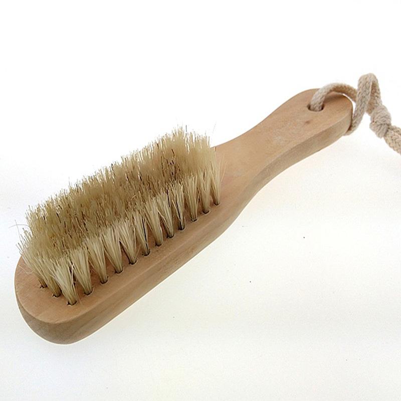 Shoe Polish Buffing Brush Wood Bristles Boot Care Clean Shoe Brush J2Y(China (Mainland))