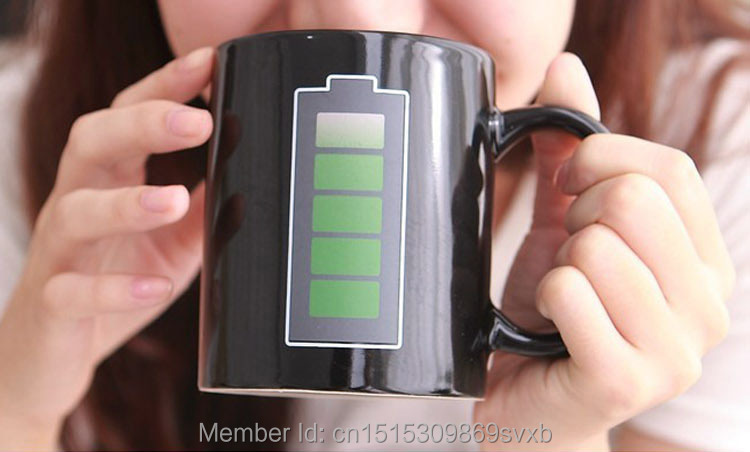 Creative ceramic battery color changing mugs Black novelty gift cup(China (Mainland))