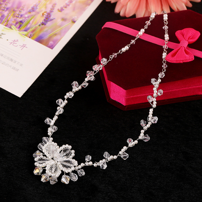 Handmade Wedding Necklace Earrings Sets Pearls Rhinestone Bridal Jewelry Sets Crystal Accessories For Brides New style(China (Mainland))