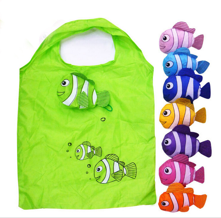 1pcs Fish Polyester Shopping Bag Foldable Bag Handle Bag in Many Colors Available Folding Bags(China (Mainland))