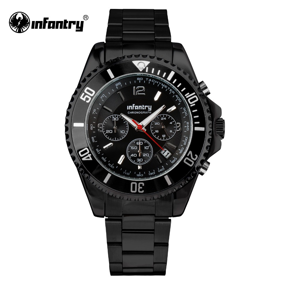 INFANTRY Mens Sports Wristwatch Stainless Steel Watch Band Miyota JS 25 Movement Watches for Male Clock Relogio Rotatable Bezel(Hong Kong)
