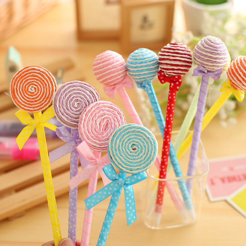 12 Pcs / Pack , Novelty Plastic Lovely Stationery Candy Color Pens Shape Ball Point Lollipop Ballpoint Pen(China (Mainland))