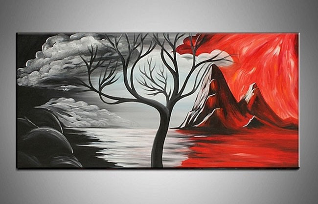 White on Black Canvas Paintings Hand Painted Large Canvas Wall