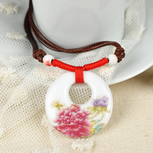 2015 New Fashion Jewelry White And Blue Porcelain Ceramic Necklace For Women Floral Chinese Art Handmade