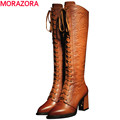 MORAZORA 2017 new high quality pu genuine leather boots thick high heels winter knee high boots