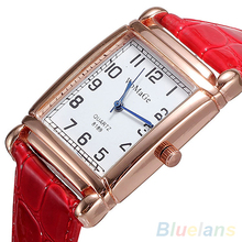 Hot Fashion Men Women Leather Band Square Dial Quartz Analog Wrist Watch 1MYV