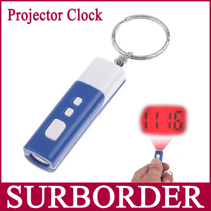 Mini Square Portable Digital Projecting Projection Laser Pen Clock Watch Time Projector with Keychain Blue(China (Mainland))