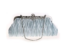 Silver Chinese Women's Satin Clutch handbag Wedding Evening Bag Party Purse Makeup Bag Free Shipping 7385-F