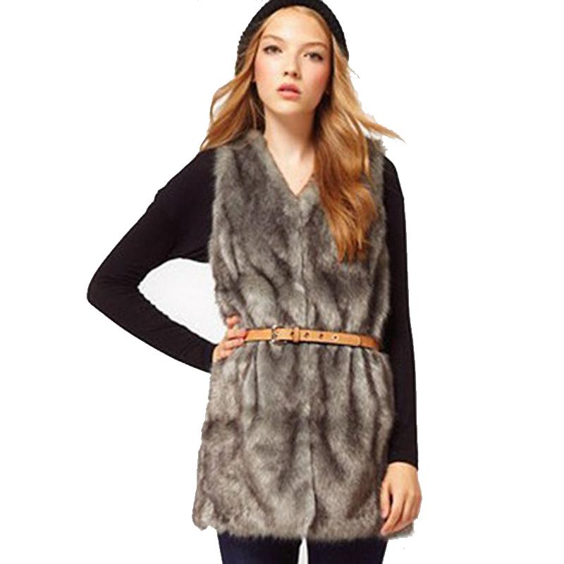 Women Brown Plus Size Faux Fur Vest Special Slim long fuax fur Coat women XXL Gilet Fourrure Rabbit Fur femme Vest Long Coat(China (Mainland))