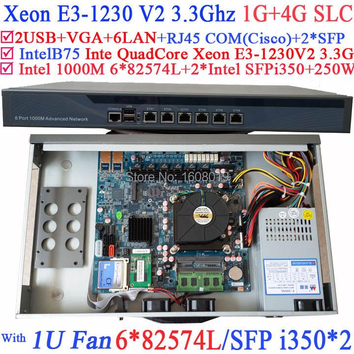 Powerful 1U Firewall Quad Core Xeon E3-1230 V2 3.3Ghz with 8 Ports 6*1000M 82574L Gigabit Nics 2* intel i350 SFP 1G RAM 4G SLC<br><br>Aliexpress