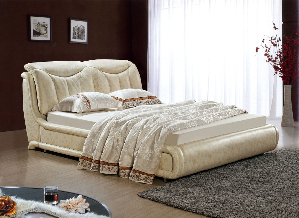 Designer modern genuine real leather soft bed double bed for American home furniture beds