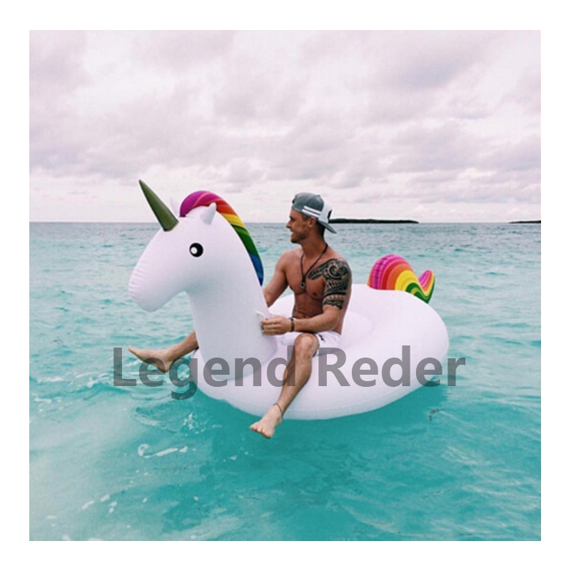 275 * 140 * 120 cm green PVC inflatable unicorn floating row horse swim ring inflatable water bed(China (Mainland))