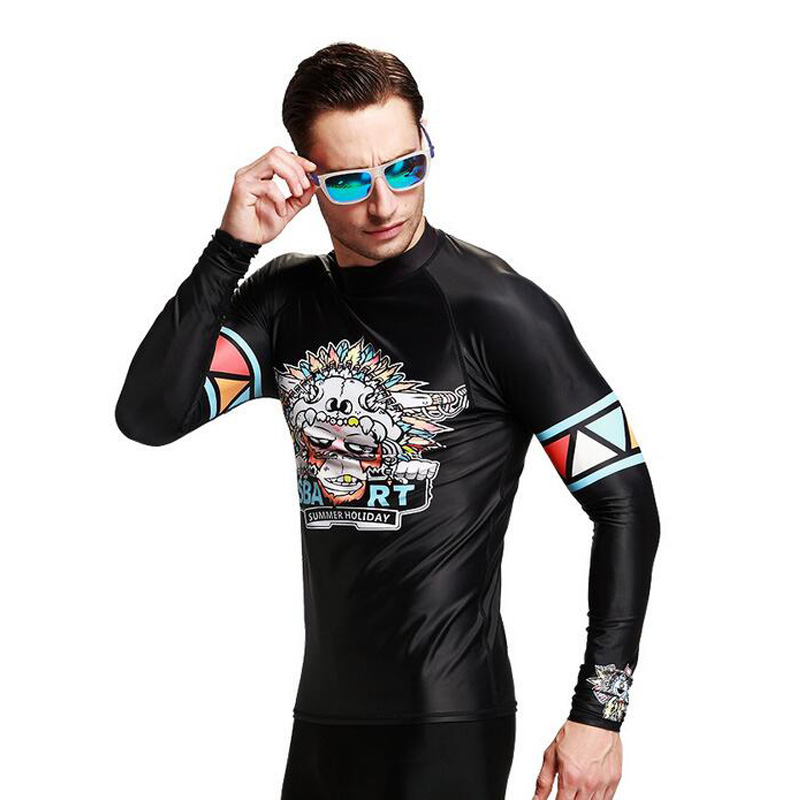 2016 Black Long Sleeves Men Rash Guard Uv Protection Jellyfish Quick Dry Diving Suits Shirt Surf Clothing Straitjacket Swimwear(China (Mainland))