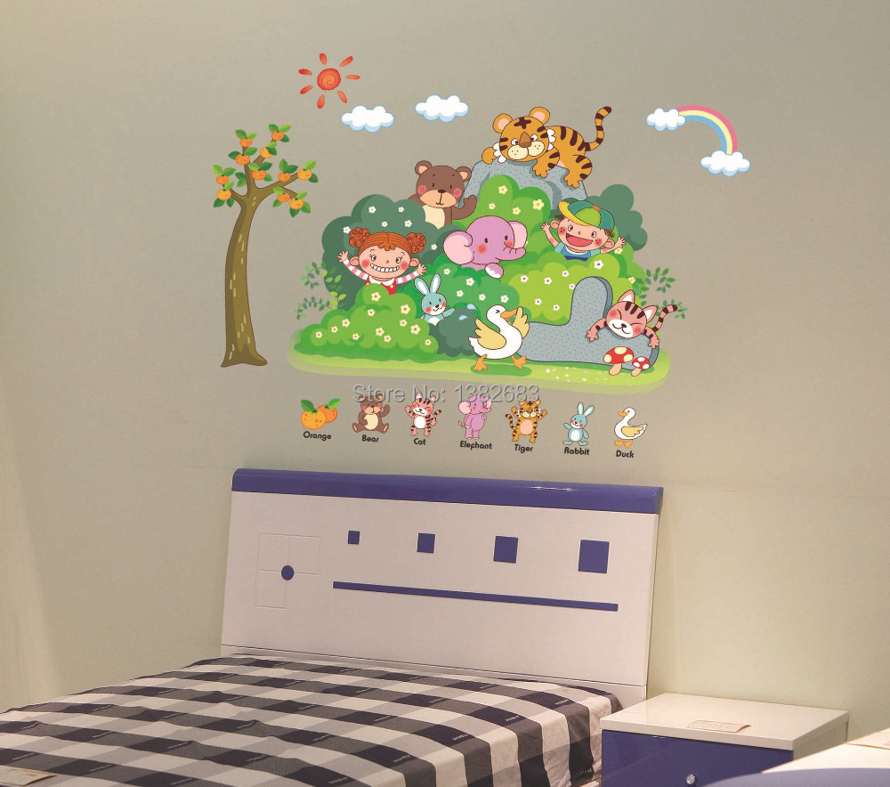Seckill cartoon the forest animals diy wallpaper pvc - Childrens bedroom wall stickers removable ...
