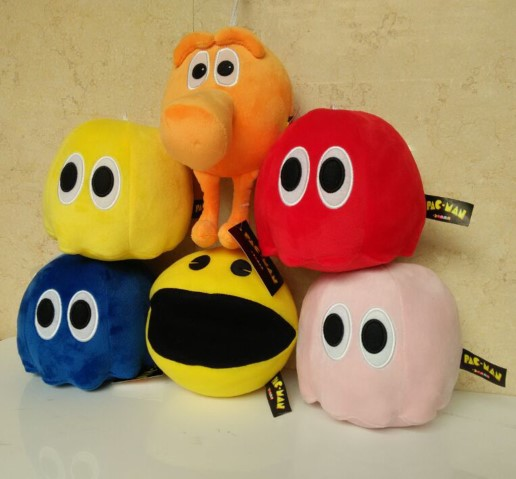 6Pcs/Lot 2015 PacMan Plush Toys PIXELS Movie Deluxe Stuffed Toy Dolls Soft Toys Gift Small Ghost And Pac Man Juguetes 17CM(China (Mainland))