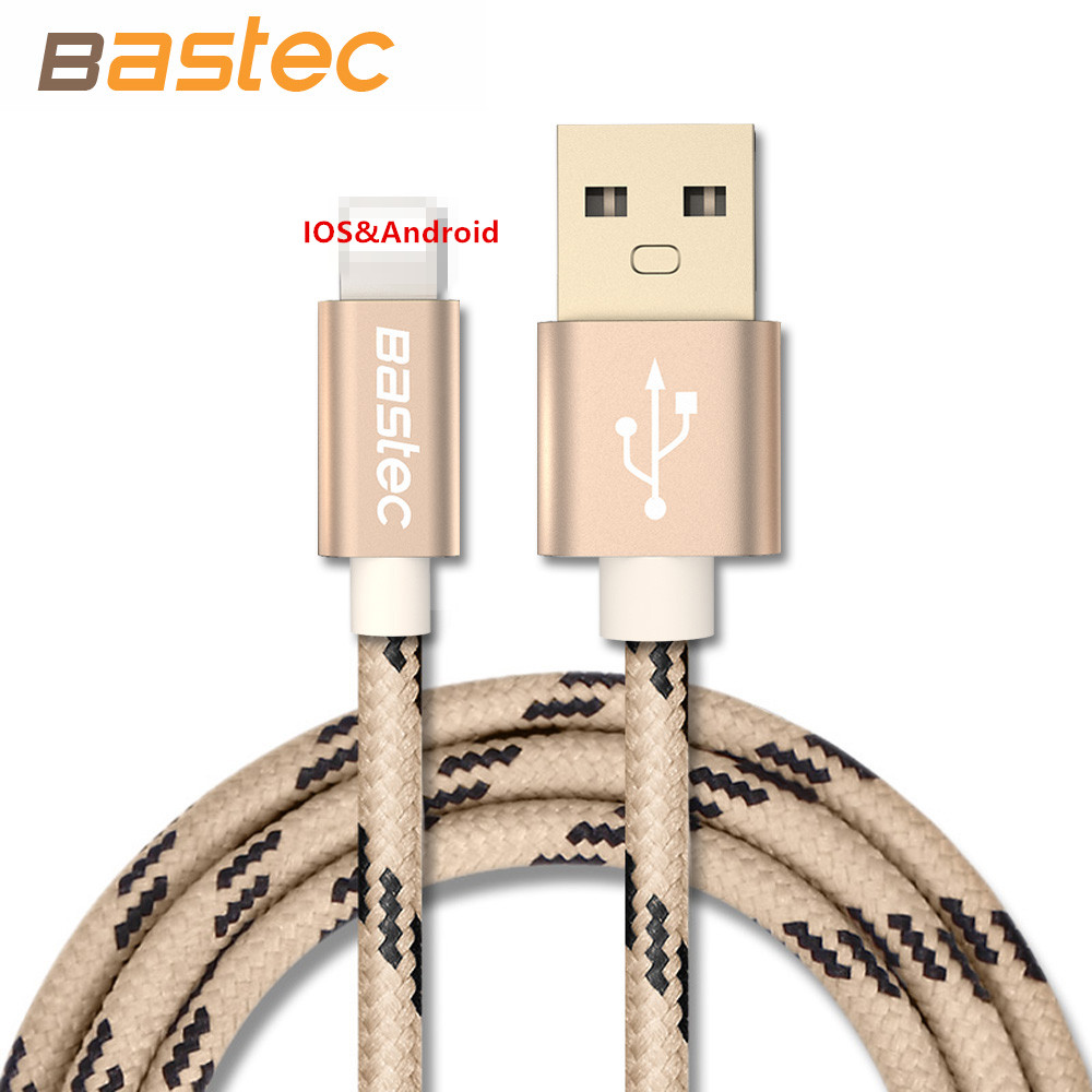 Bastec Metal Gold-plated Connector Braided Data Charger Micro USB Cable 2.1A Output for iPhone 7 7s 6sPlus iPadmini Samsung Sony(China (Mainland))