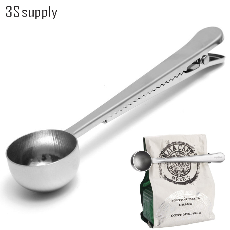 Stainless Steel Silver Coffee Scoops Bag Seal Clip Milk Powder Flesh Espresso Tea Scoop Ice Cream Spoon Barista Cooking Tools(China (Mainland))