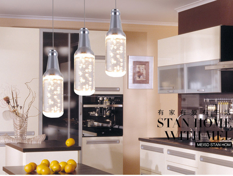 Chandelier bottle of high-end modern minimalist LED lights restaurant chandelier crystal chandelier Dining table lamps three(China (Mainland))