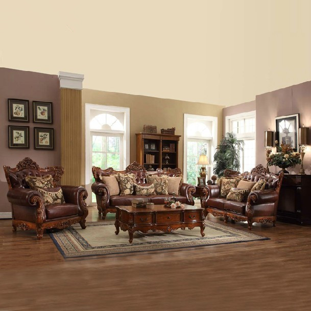 High grade european style cloth art oak wood sofa genuine - European style living room furniture ...
