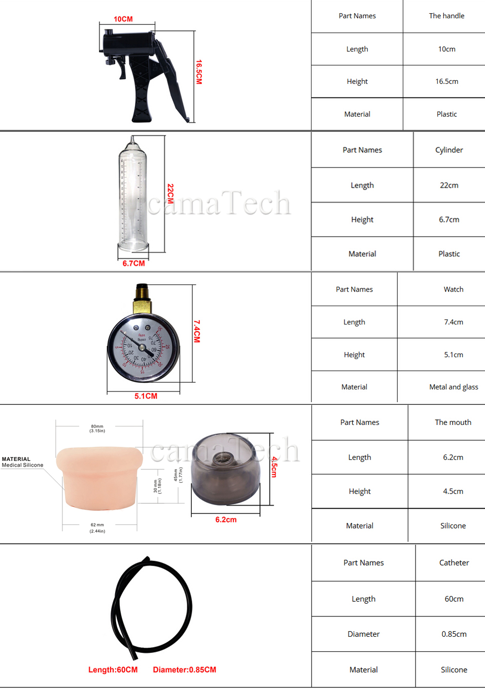 camaTech Male Pistol Penis Pump Enlarger Enlargement With Master Pressure Gauge Dildo Erection Enhancer Vacuum Sleeve Sex Toys