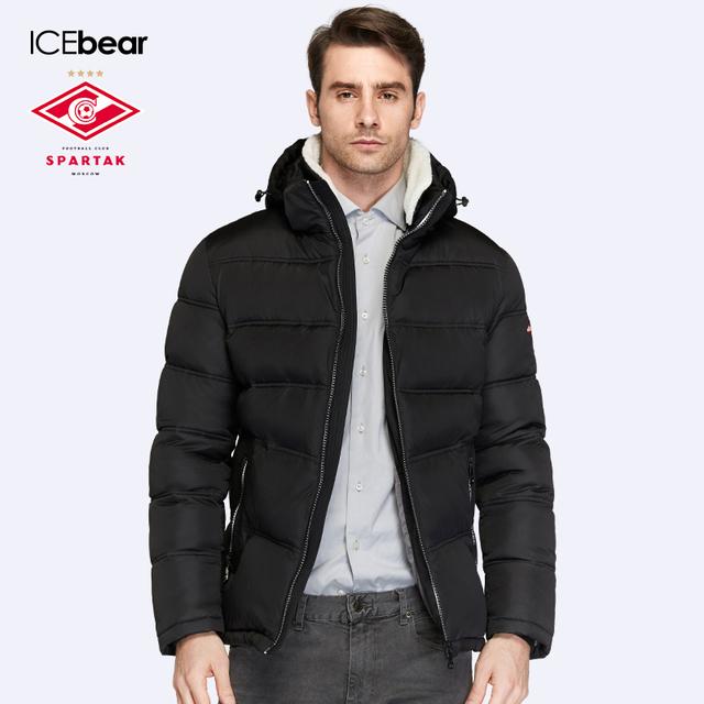 SPARTAK-ICEbear Совместное Производство 2016 Зима Мужчины Тонкий Био Вниз Пальто Короткая Теплая Высокое Качество Мужчины Parka16M875D