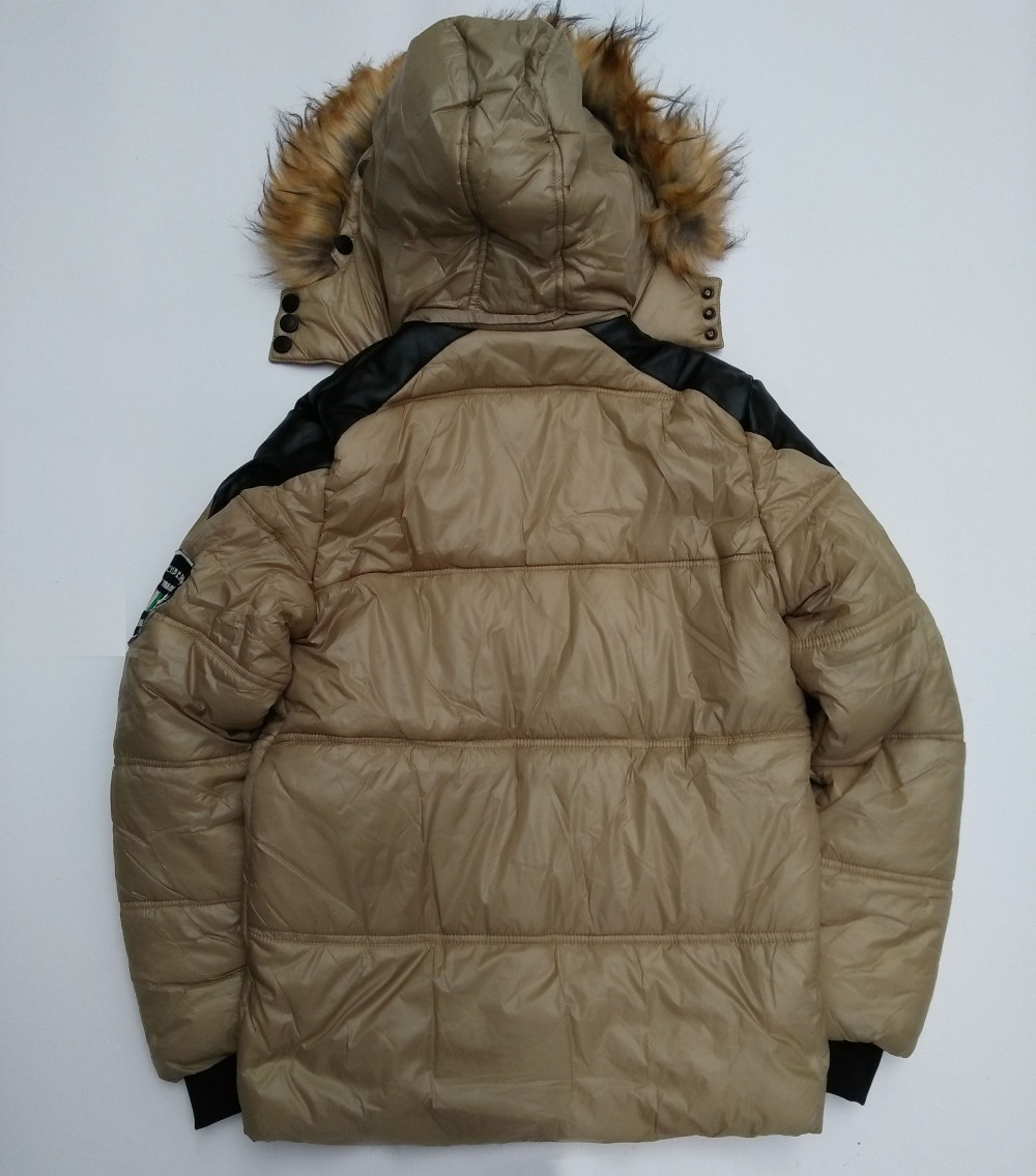 Long winter jacket fur on the removable hood creates a stylish look coat for men pocket on sleeve warm winter men's  jacket
