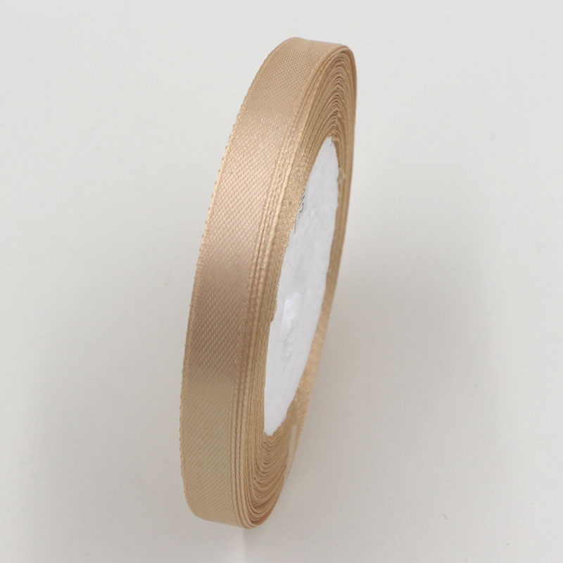 A Roll 1CM Width Ribbon 25 Yard Length Wedding Decoration Champagne Color Polyester Ribbons box Warp Package Handmade DIY Craft