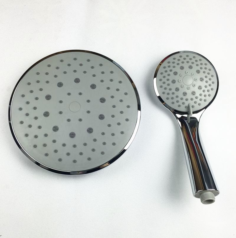 8 Inch roll rainfall shower head with hand shower bath mixer shower faucets ABS chrome finish grey surface(China (Mainland))