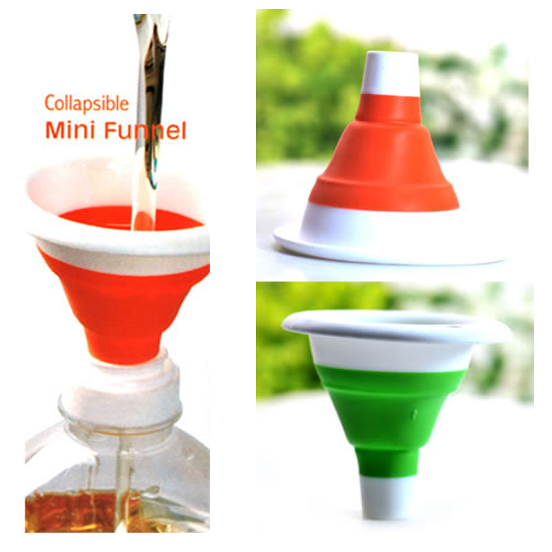 Novelty home Practical and safe Kitchen Tool Silicone Collapsible Style Mini Folding Portable Funnel Color Send Randomly(China (Mainland))