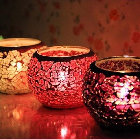 New Arrival European style romantic mosaic candleholder glass household decoration(China (Mainland))