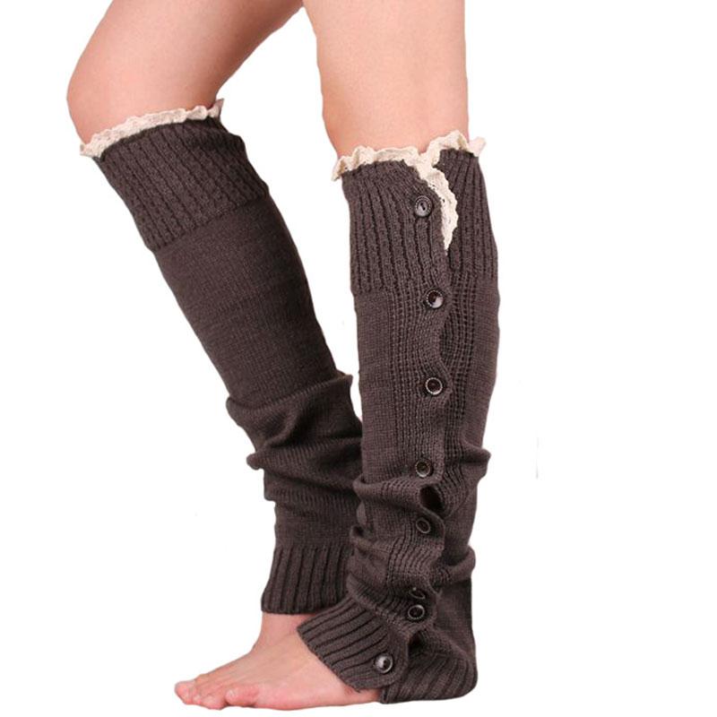 Aliexpress.com  Buy Womenu0026#39;s Crochet Knitted Stocking 2015 Button Lace Leg Warmers Trim Legging ...