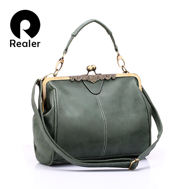 REALER brand new retro women messenger bags small shoulder bag high quality PU leather tote bag small clutch handbags(China (Mainland))