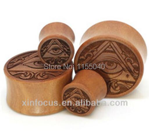 2pcs/lot Organic Wood Eye Flesh Ear Plug Plugs Tunnels body piercing jewelry(China (Mainland))