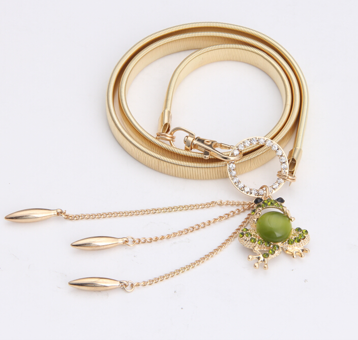 Free shipping new fashion crystal opal gold lovely green frog belt belly chain belts jewelry Infinity gift women girl wholesale(China (Mainland))