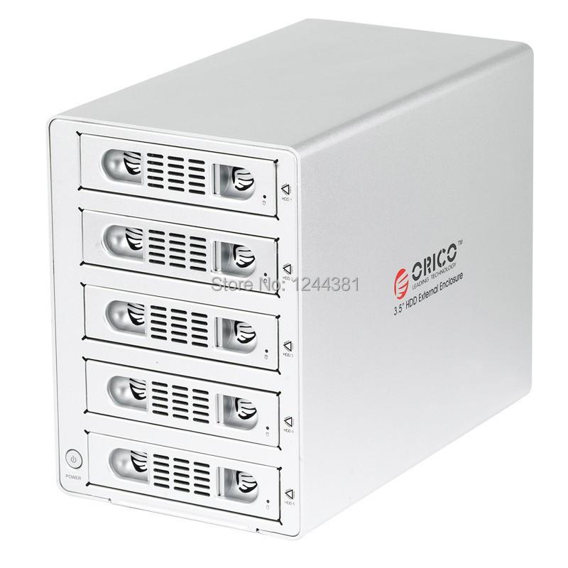 ORICO 3559RUSI3-SV Aluminum usb 3.0 & eSATA 5 bay 3.5''SATA HDD RAID enclosure with USB3.0+eSATA+1394a+1394b interface(China (Mainland))