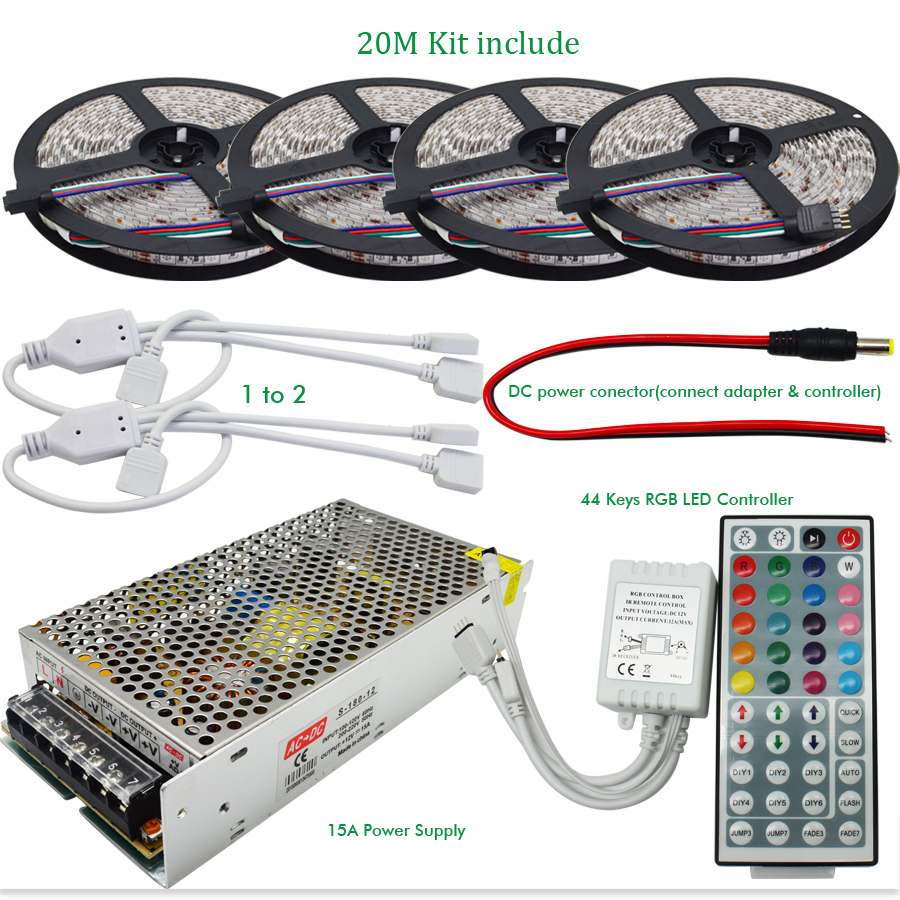10M 20M DC12V Waterproof RGB LED Strip Light Flexible SMD 5050+ IR 44 Keys Remote Controller + 12V 15A Power Supply Transformer(China (Mainland))