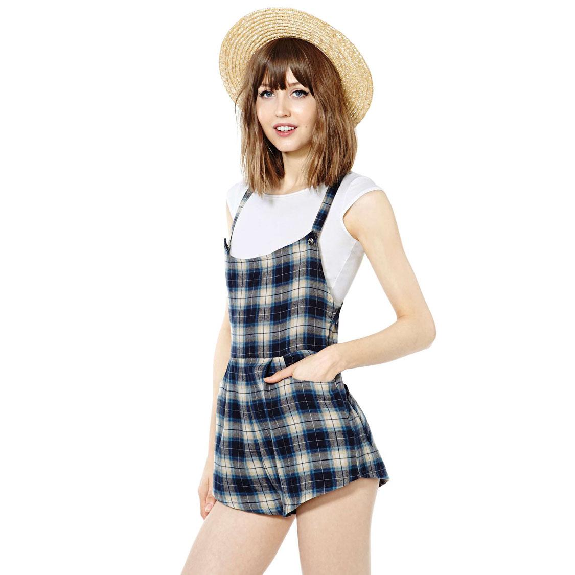 Plaid double pocket bag back spaghetti strap sleeveless female shorts jumpsuit haoduoyi - Fashion company store