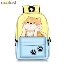 Милый Забавный Акита Шиба ину собака/котенок кошка рюкзак для девочки-подростка детская школьная сумка для женщин и мужчин повседневный рю...(China)