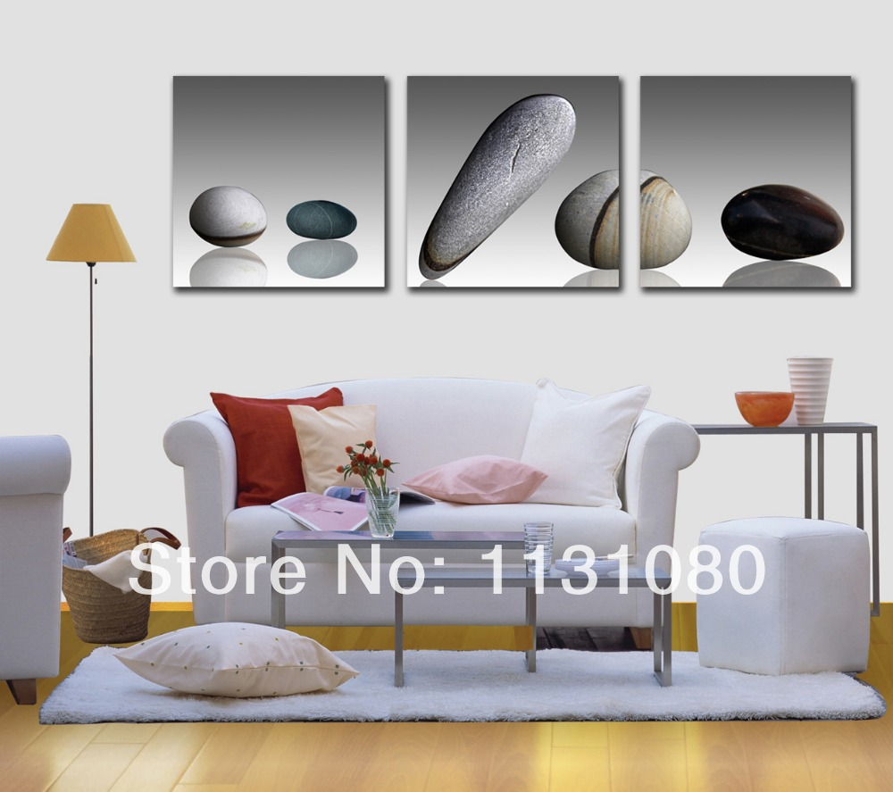 NO FRAME CANVAS ONLY canvas painting 3 pieces grey white