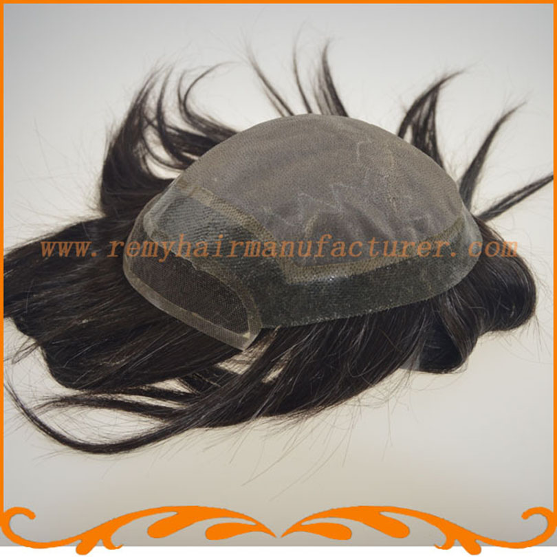 2016 new product base top mono lace and front French lace and around PU men's toupee straight wave wigs mens hair pieces(China (Mainland))