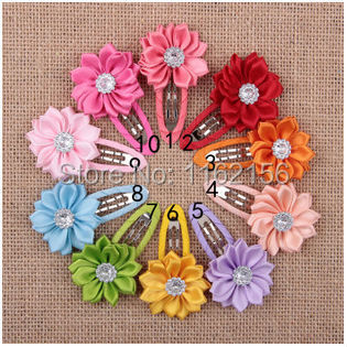 "Mini 1.5"" Satin Ribbon Flower With BB Hair Clips Baby Girls Flower Hair Clips Baby Hair Accessories 35pcs/lot(China (Mainland))"